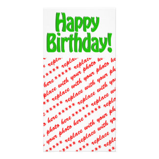 Happy Birthday Text - Green Photo Card Template