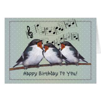 Happy Birthday: Three Birds Singing: Music Staff Greeting Card