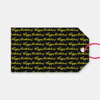 Happy Birthday! Tiled Bright Yellow Casual Script Gift Tags