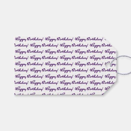 Happy Birthday! Tiled Dark Purple Casual Script Gift