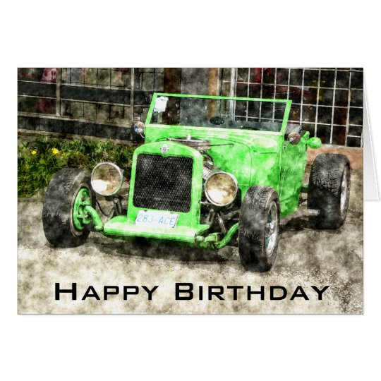 Happy Birthday to Man Classic Car Card