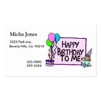Happy Birthday To Me Girl Pack Of Standard Business Cards
