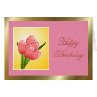 Happy Birthday to mother in law with flowers Greeting Card
