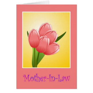 Happy Birthday to mother in law with flowers Card