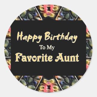 Happy Birthday To My Favorite Aunt Round Sticker