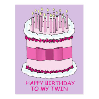 Happy Birthday to my twin, large cake with candles Post Cards
