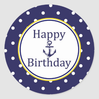 Happy Birthday to sticker - Nautical Yellow - Navy