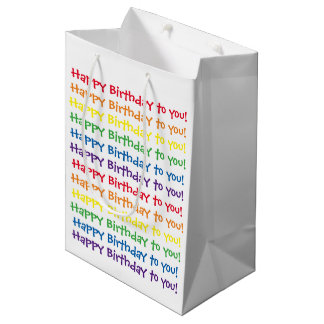 Happy Birthday To You Gift Bag - White & Rainbow