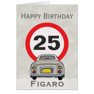 Happy Birthday Topaz Mist Figaro Car Customisable Card