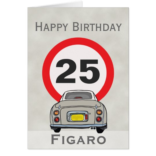 Happy Birthday Topaz Mist Figaro Car Customisable Card