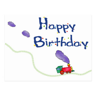 Happy Birthday Train Postcard