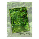 Happy birthday, tranquil river scene greeting card