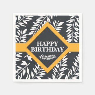 Happy Birthday Tropical Black White and Yellow Disposable Serviettes