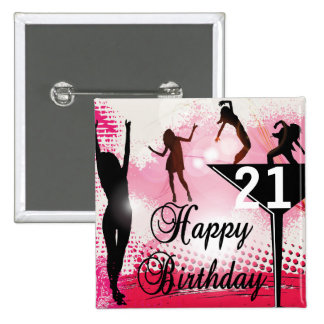 Happy Birthday turning 21   DIY AGE 15 Cm Square Badge