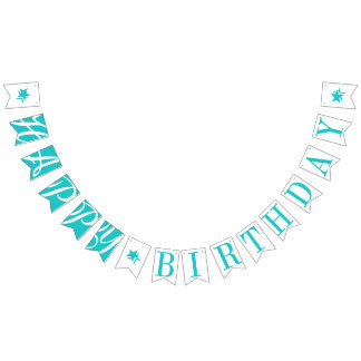 HAPPY BIRTHDAY Turquoise And White Bunting