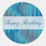 Happy Birthday turquoise satin Round Sticker
