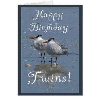 Happy Birthday Twins-Identical Seabirds on a Beach Greeting Card
