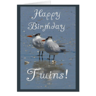 Happy Birthday Twins -Two Identical Birds on Beach Greeting Cards