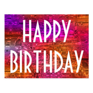 Happy Birthday Typography Colorful Art Pink Orange Postcard