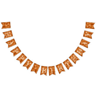 Happy Birthday Typography on Faux Rose Gold Bunting