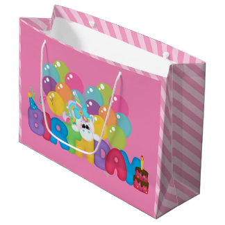 Happy Birthday unicorn large gift bag girls