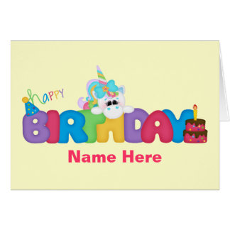 Happy Birthday Unicorn (personalized) Greeting Card
