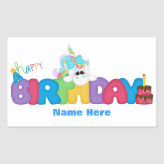 Happy Birthday Unicorn (personalized) Rectangular Sticker