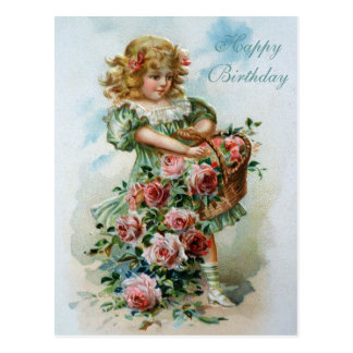 Happy Birthday Victorian Post Card Pink Roses