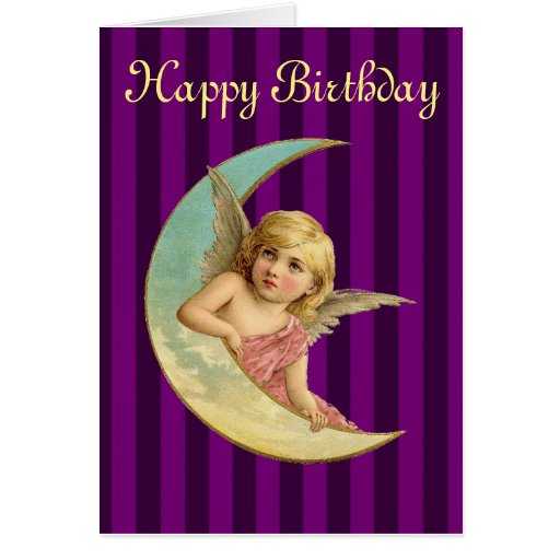 Vintage Angel On A Crescent Moon Greeting