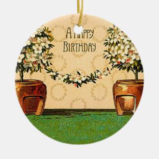 Happy Birthday Vintage Flowering Pots Christmas Ornament
