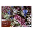 Happy Birthday, Vintage Flowers, Personalised Card