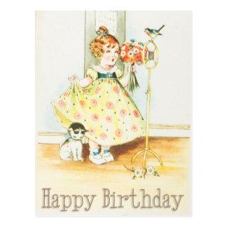 Happy Birthday Vintage Girl and Cat Postcard