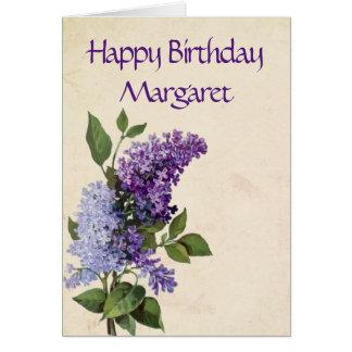 Happy Birthday Vintage Lilac Flowers Card