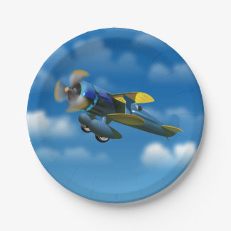Happy Birthday vintage plane in a blue sky Paper Plate