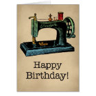 Happy Birthday Vintage Sewing Machine Card