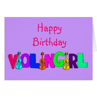 Happy Birthday Violin Girl Greeting Card