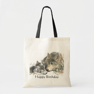 Happy Birthday Watercolor Wolf Cubs Animal Art Canvas Bag