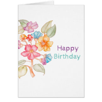 Happy Birthday watercolour greeting card
