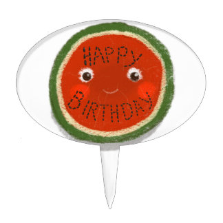 Happy Birthday Watermelon Cake Toppers