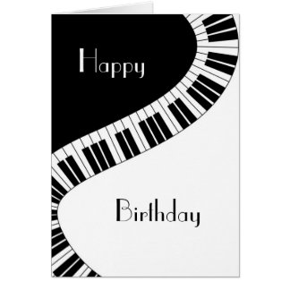 Happy Birthday - Wavy Curved Piano Keys Card