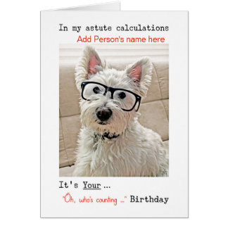 Happy Birthday, Westie With Glasses, Personalize Card