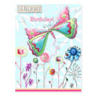 Happy Birthday Whimsical Butterfly Postcard