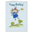 Happy Birthday Whimsical Happy Flying Angel Fairy Card