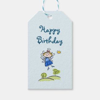 Happy Birthday Whimsical Happy Flying Angel Fairy Gift Tags