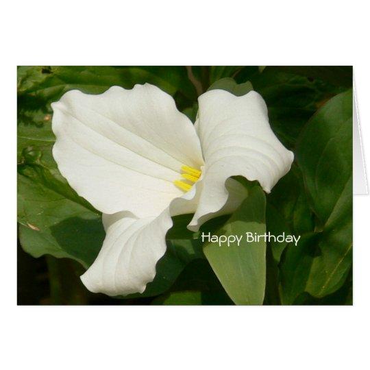Happy Birthday-White Flower Card