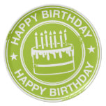 Happy Birthday -white rubber stamp effect-