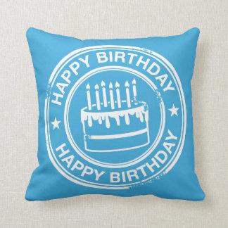 Happy Birthday -white rubber stamp effect- Cushion