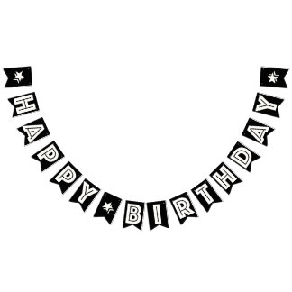 HAPPY BIRTHDAY ☆ WHITE TEXT ON BLACK BACKGROUND BUNTING