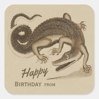 Happy Birthday Wild joyful crocodile CC0892 Square Sticker