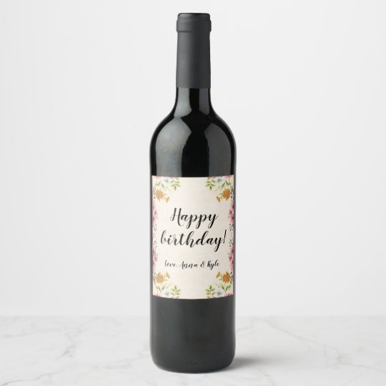 Happy Birthday Wine Bottle Label With Flowers